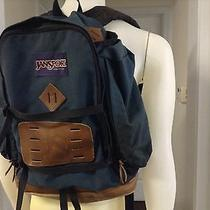 Vtg Jansport Made in the u.s.a Blue Brown Leather Bottom Hiking Day Backpack Photo