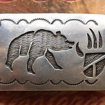 Vtg Jerry Francisco Sterling Silver Bear Paw Native American Western Belt Buckle Photo