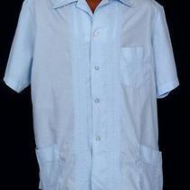 Vtg Kent Baby Blue Guayabera Cuban Havana Yucatan Rockabilly Camp Shirt Sz Large Photo