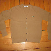 Vtg Lacoste Cardigan Sweater Brown Lg Large 1970s Made in Usa Mr Rogers 80s Prep Photo