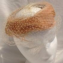 Vtg Ladies Hat Fascinator Blush Feathers on a Ring With Veil Union Made Photo