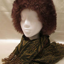 Vtg Lamb's Fleece Fur Woman's Hat Full Head 'Marchi' Tuscan Italy  Warm Brown Photo