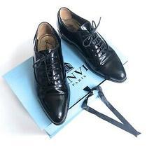 Vtg Lanvin Richelieu Oxford Lace Up Shoes Flats Mensy Pointy Toe 36 Black Leathe Photo