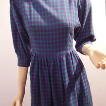 Vtg Lanz Originals 3/4 Slv Dress Purple & Aqua Check Flannel Ftd Bodice  6p Photo