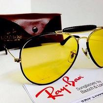Vtg Leather Aviator  Ray Ban  Ambermatic Changable  Usa  Bl 62mm  W/case Photo