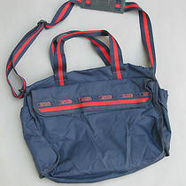 Vtg Lesportsac Navy Blue Red Sparkle Crossbody Messenger Bag Boho Tote Diaper  Photo