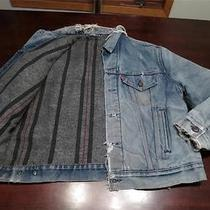 Vtg Levis Mens Blanket Lined Distressed Denim Trucker Mod Grunge Jacket Sz 46 Photo