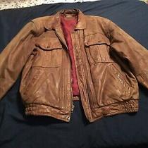 Vtg Levis Strauss Leather Motorcycle Jacket Brown Distressed Mens Large Bomber Photo