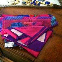 Vtg Lot 117 - 4 Blue Fuchs Tone Scarves W Liz Claiborne Anne Klein Silk & More Photo
