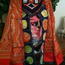 Vtg Lot 133- 5 Red Orange Tone Scarves W Echo Anne Klein a Silk & More Photo