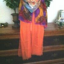 Vtg Lot 149 - 4 Orange Pink Tone Scarves W Italy Vera Anne Klein Silk & More Photo