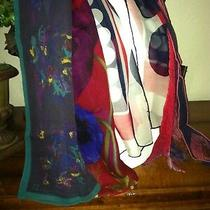 Vtg Lot 78 - 6 Scarves Anne Klein Silk Chiffon Red Blue Green Photo