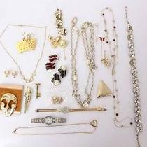 Vtg Lot of 15 Pieces Monet Coro Avon Jewelry Earrings Necklaces Brooches Watch Photo