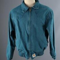 Vtg. Men's 1990s Blue Denim Carhartt Coat Medium 90s Cotton Jacket Photo