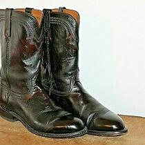 Vtg Men's Lucchese 2000 Black Cherry Leather T001202 Cowboy Boots Sz. 10.5 Ee  Photo