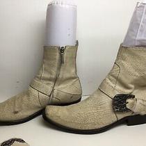 Vtg Mens Donald J Pliner Square Toe Casual Ivory Boots Size 8 M Photo