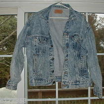Vtg Mens Retro 80's Trucker Grunge Hobo Stone Washed Denim Jean Jacket Levis L  Photo