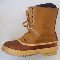 Vtg Mens Sorel Heyenne Rawhide Brown Leather Rubber Insulated Winter Boots Sz 9 Photo
