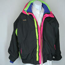Vtg Mens Sz L Columbia Bugaboo 3 in 1 Radial Sleeve Jacket  Black Pink Blue Vgc Photo