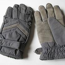 Vtg Mens Winter Gloves Grey T/c Poplin Leather & Nylon Large by Avon Thinsulate Photo