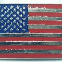 Vtg Metal and Enamel American Flag Belt Buckle Stars & Stripes Red White Blue Photo