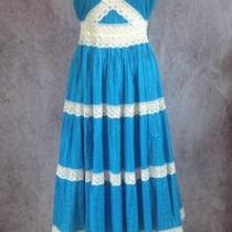 Vtg Mexican Peasant Dress Womens Size 6 Small Turquoise Blue Lace Full Skirt Photo