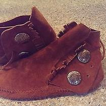 Vtg Minnetonka Double Button Fringe Suede Moccasins Ankle Boots Size 5 1/2 Photo