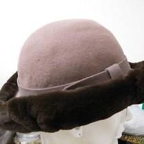 Vtg Miss Bierner Splendide 100% Brown Felt Wool Hat Sheared Beaver Trim Photo