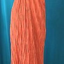 Vtg Missonibrilliant Orange Striped Full Length Halter Dress-Ruffle Hem-10  Photo