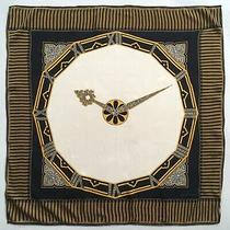 Vtg Must De Cartier 100% Crepe De Chine Jacquard Silk Scarf Clock Watch Mint  Photo