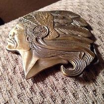 Vtg Native American Indian Chief Head Profile Headdress Gold Brass Belt Buckle Photo