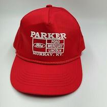 Vtg New Parker Ford Mercury Lincoln Murray Ky Red Snapback Trucker Hat Cap Cars Photo