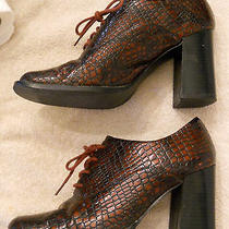Vtg Newport News Chunky High Heel Faux Alligator Oxford Shoes Size 8 Moc Croc Photo