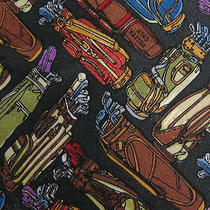 Vtg Nicole Miller 1997 Golf Bags Designed in New York Tie Hand Sewn 100% Silk Photo