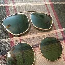 Vtg Original 1940's Ray Ban Aviator Green Clip-on Sunglasses Bausch Lomb Photo
