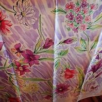Vtg Oscar De La Renta Floral Spring Scarf 100% Silk. Shimmery Soft Exquisite Photo