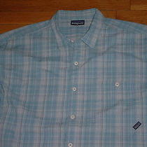 Vtg Patagonia Mens A/c Shirt Xxl Short Sleeves Organic-Cotton Blue Logo Nice Photo