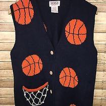 Vtg Pbj Sport Medium Knit Sweater Vest Navy Blue Orange Basketball Coach Aweosme Photo