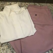 Vtg Pendleton Cream Long Sleeve Button Down With Zara Pants Blush Pants Us 10 Photo