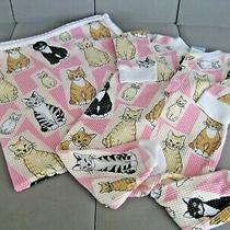 Vtg Pj Salvage Baby Kitty Print 2 Pc Sleeper 3-6m  26
