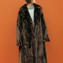 Vtg Pristine  Hudson Sheared Mahogany Brown  Beaver Muskrat Mink Fur Coat M Photo