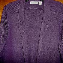 Vtg Purple Sweater/cardigan With Hand Pockets Acrylic christie&jill Size L Photo