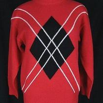 Vtg Rafaella Crewneck Pullover Sweater Red Argyle Lambs Wool Angora Sz M W56 Photo