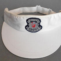 Vtg Rare 80s Golf-Hat Givenchy Active Sports White Navy-Blue Red Wide-Brim-Visor Photo