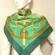 Vtg Rare Hermes Eperon d'or Scarf 100% Silk 90 Green Gold 2075 Photo