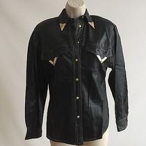 Vtg Rare Unique Gianni Versace Black Leather Western Shirt It 36 Photo