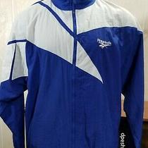 Vtg Reebok Royal Blue White Full Zip Sportswear Windbreaker Track Jacket Sz M. Photo