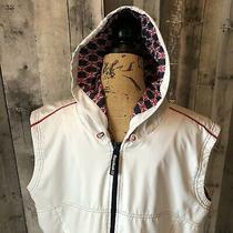 Vtg. Reebok White British Flag Sleeveless Hoodie Jacket Vest Women Shirt Size Xl Photo