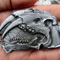 Vtg Saber Toothed Tiger Belt Buckle 3d Jurassic Dinosaur Utah Fossil Rare Vg Photo