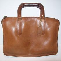 Vtg Saddle Brown Leather Coach Classic Hand Bag Purse Satchel Brief Case Ny Photo